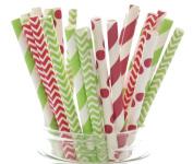 Christmas Straws, Red & Green Holiday Straws, Vintage Party Supplies, Santa Red & Elf Green Straws, 25 Pack - December Christmas Straws