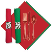 Hoffmaster 119995 Holly CaterWrap, Pre-Rolled Red/Jade 2-Ply Dinner Napkins and Heavy Weight Clear Cutlery