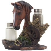 Chestnut Stallion Glass Salt & Pepper Shaker Set with Decorative Brown Horse Statue Holder for Western Ranch Decor or Country Farm Kitchen Table Centrepieces As Collectible Gifts for Farmers