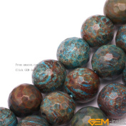 GEM-inside 10mm Round Faceted Blue Crazy Lace Agate Gemstone Jewellery Making Beads 38cm