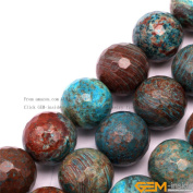 GEM-inside 12mm Round Faceted Blue Crazy Lace Agate Gemstone Jewellery Making Beads 38cm