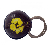 Round Coconut Purse with Painted Hibiscus