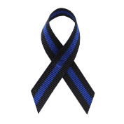 Thin Blue Line Fabric Awareness Ribbons - Bag of 250 Lapel Ribbons w/ Safety Pins