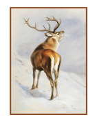 Red Deer Roaring by Naturalist Archibald Thorburn's Animal Counted Cross Stitch Chart