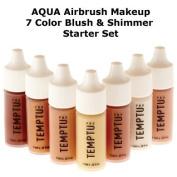 TEMPTU PRO 7 Colour Aqua Airbrush Makeup Blush & Shimmer Set in 30ml Bottles