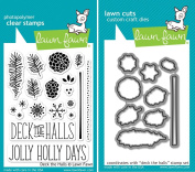 Lawn Fawn Deck The Halls Clear Stamp and Die Set - Includes One Each of LF721 (Stamp) & LF722 (Die) - Custom Set