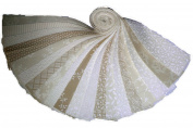 20 6.4cm Quilting Fabric Jelly Roll Strips Cream & Sugar Neutrals WOF