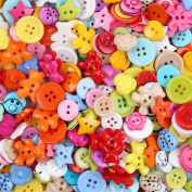 Crystallove Mixed Small Plastic Buttons Lot with Different Colour and Style for Sewing Fasteners Scrapbooking and DIY Handmade Craft