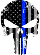 Tattered 13cm x 10cm Subdued Us Flag Punisher Skull Reflective Decal with Thin Blue Line