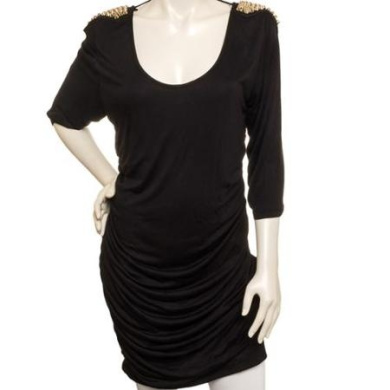 SILVER LILLY NEW Womens Junior Plus Size Black Spiked Shoulders Knit Dress (2X)