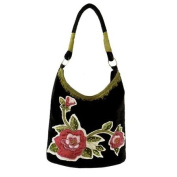 Maggi B Soft Touch Black Velour Rose Appliqué Hobo Tote Bag