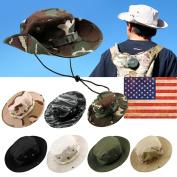 Fishing Hunting Bucket Hat Boonie Outdoor Cap Washed Cotton Military Safari Summer Men - Black