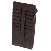 Buxton Women Brown Genuine Leather Thin Business Credit Card Case Stacker Wallet