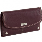 Buxton Womens Genuine Leather Westcott Chequebook Clutch Snap Wallet