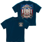 American Firefighter Fire Rescue T-shirt with Flag by Erazor Bits, Blue, 2XL