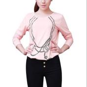Allegra K Juniors Pullover Slim Fit Autumn Tops Pink