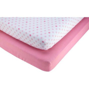Pinwheel Pink and Polka Dot 2-Pack Crib Sheet, Girl