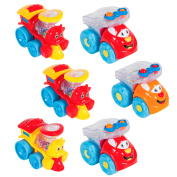 (Set of 6) Free Wheel Rattle Cars and Trains Perfect Kids Toy Gift