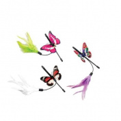 Fluttery Butterfly Teaser Wand 20cm -Pink, Green Or White Feather