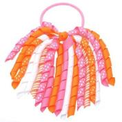 Girls Pink Korker Bow Grosgrain Curled Ribbon Pony Holder