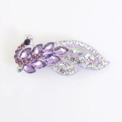 Lady Purple Colourful Rhinestone Crystal Accent Metal French Clip Hair Barrette