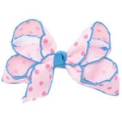 Girls Light Pink Polka Dotted Grosgrain Bow Alligator Hair Clippie