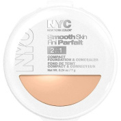 N.Y.C. New York Colour Smooth Skin 2 in 1 Compact Foundation, 5ml, Light