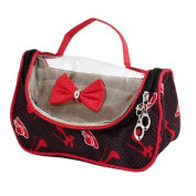 Lady Portable Zip Closure Red Dots Black Cosmetic Hand Bag Pouch Case
