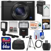 Sony Cyber-Shot DSC-RX100 IV 4K Wi-Fi Digital Camera with 64GB Card + Battery & Charger + Case + Tripod + Flash + LED Video Light + Kit