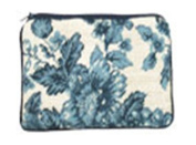 123 Creations C532CC-11cm x 18cm . A-Toil-Blue Needlepoint Cosmetic Case