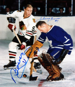 Autograph Authentic flat-8x10-bowerhull Bower Stops Hull Autographed 8X10 - Toronto Maple Leafs - Chicago Blackhawks