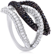 Doma Jewellery MAS02116-5 Sterling Silver Ring with Black & White Cubic Zirconia - Size 5
