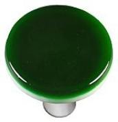 Hot Knobs HK1023-KRA Kelly Green Round Glass Cabinet Knob - Aluminium Post