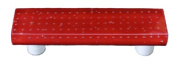 Hot Knobs HK1200-PB Bubbles Red Rectangle Glass Cabinet Pull - Black Post