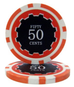 Bry Belly CPEC-50c 25 Roll of 25 - Eclipse 14 Gramme Poker Chips - .50 & cent; - cent