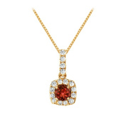 Fine Jewellery Vault UBNPD32366AGVYCZGR600 Fancy Square Garnet and Cubic Zirconia Halo Pendant in 14K Yellow Gold Vermeil over Silver