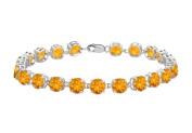 Fine Jewellery Vault UBBR55W14CT 14K White Gold Prong Set Round Citrine Bracelet with 12 CT TGW