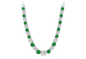 Fine Jewellery Vault UBUNK17AGCZE Graduated Created Emerald CZ Tennis Necklace in Sterling Silver 17.ct.tw