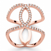 PalmBeach Jewellery 552519 .925 Sterling Silver .47 TCW Cubic Zirconia Interlocking Loop Ring in Rose Gold-Plated 23cm .