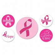 Beistle Company 60129 Pink Ribbon Buttons - Pack of 12