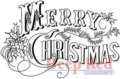 Deep Red Stamps Vintage Merry Christmas Rubber Stamp