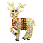 Christmas Crystal Speckled Reindeer Brooch Pin