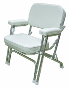 Wise Folding Deck Chair with Aluminium Frame, White