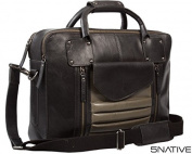 5Native Black and Grey East West Leather Portfolio Messenger Bag/ Laptop Bag / Business Bag