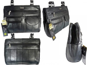 REAL LEATHER HANDBAG, Ladies Leather Handbags in Black Soft Genuine Leather. 2 Straps, Multiple Compartments and Pockets. Designer Shoulder Bags by Quenchy London. QL173