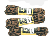 """Extra long Black/Brown Boot Laces Pack of Three Pair Extra Strong Braided 210cm 82"""" Long"""