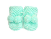 Mint Green Hand knitted DK Baby Booties in Honeycomb Pattern With PomPom Ties - Newborn 0-3 months