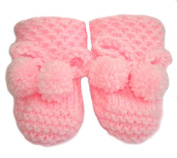 Pink Hand knitted DK Baby Booties in Honeycomb Pattern With PomPom Ties - Newborn 0-3 months