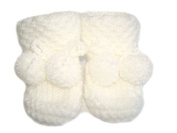 White Hand knitted DK Baby Booties in Honeycomb Pattern With PomPom Ties - Newborn 0-3 months