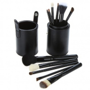 Black Leather 12 Make up Brushes Cup Set - Goat /Pony /Synthetic Hair, Aluminium Ferrule, Natural Wood Handle by TARGARIAN